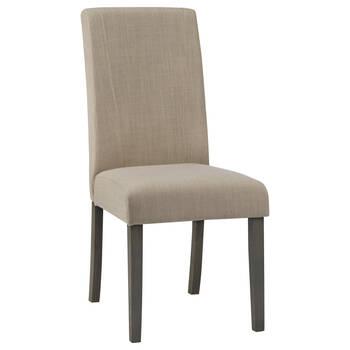 Chaise de salle à manger en tissu et en bois d'hévéa