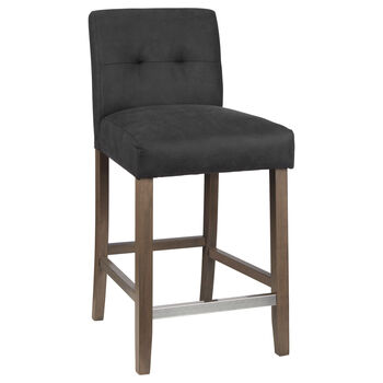Faux Leather and Rubberwood Bar Stool