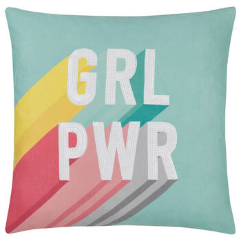 "GRL PWR Decorative Pillow 19"" x 19"""