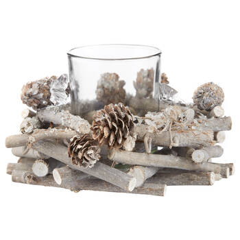 Wood, Pine Cones and Glass Candle Holder