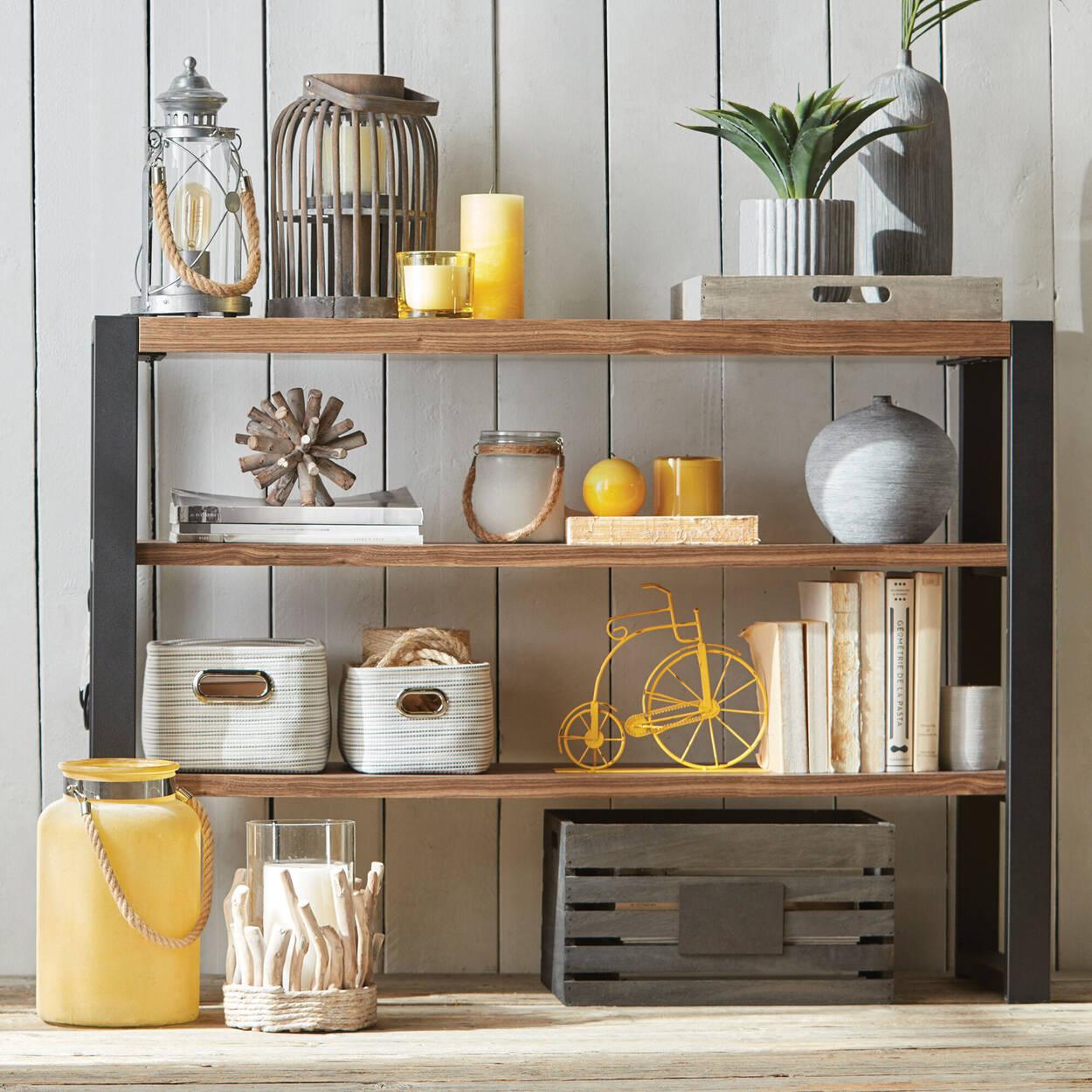 Two-Toned Striped Storage Basket