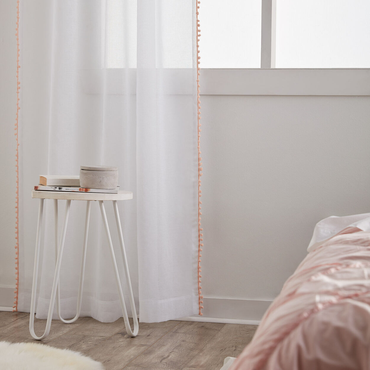 Elcac Sheer Curtain With Pompoms