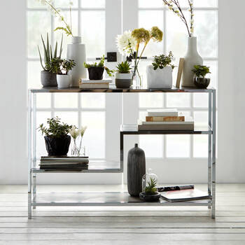 Four-Shelf Veneer and Metal Console Table