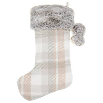 Plaid Stocking With Faux Fur