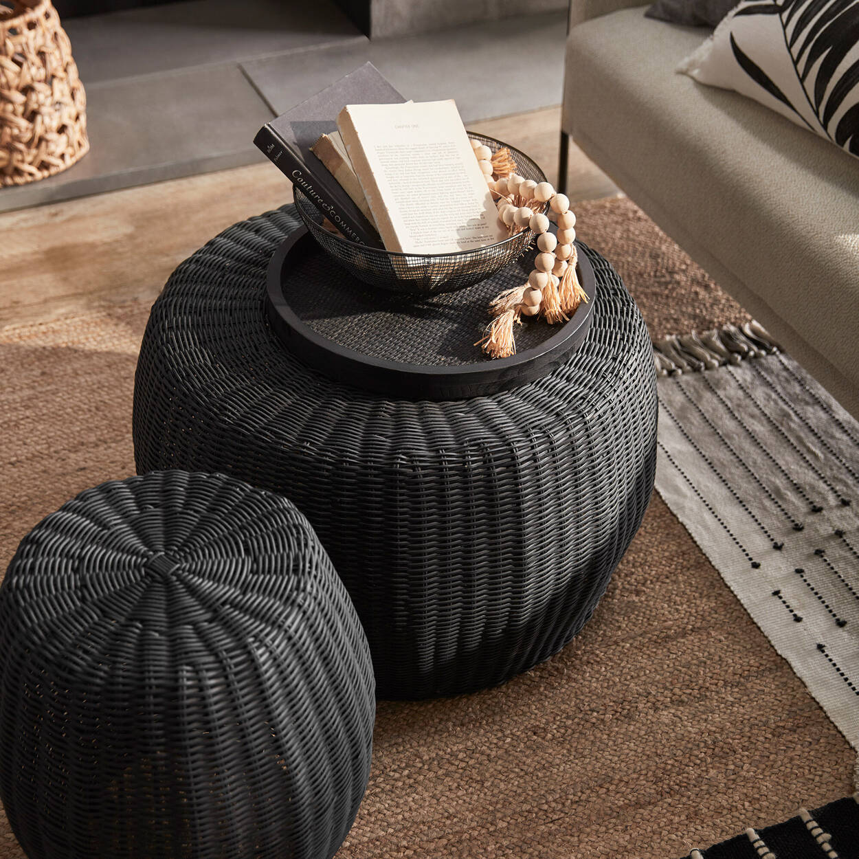 Black Wood and Rattan Round Tray