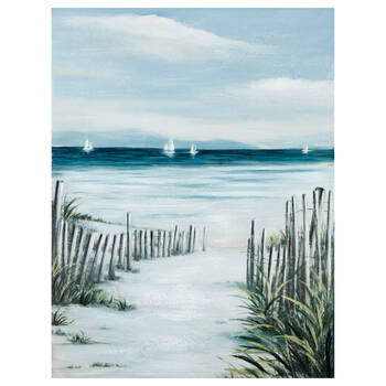 Open Fence Pathway to the Beach Printed Canvas
