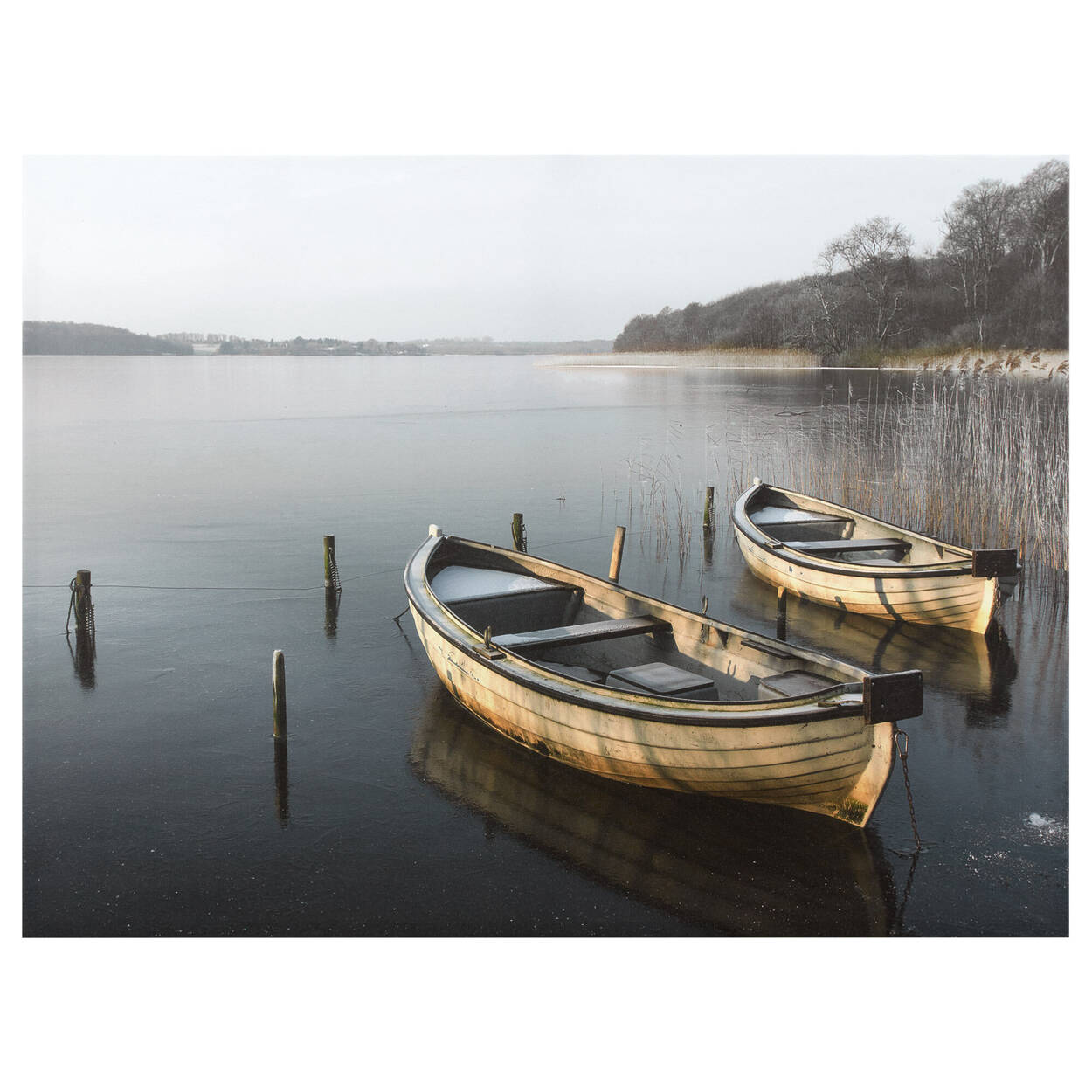 Two Boats On Lake Printed Canvas