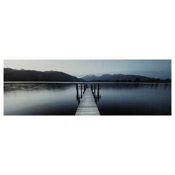 Dock on Mountain Lake Printed Canvas