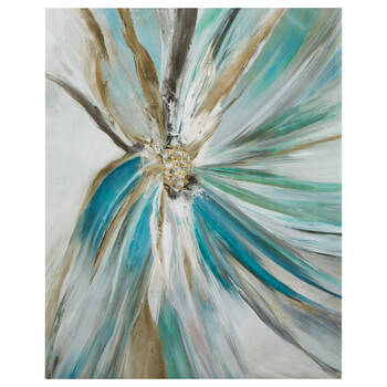 Teal Flower Gel-Embellished Printed Canvas