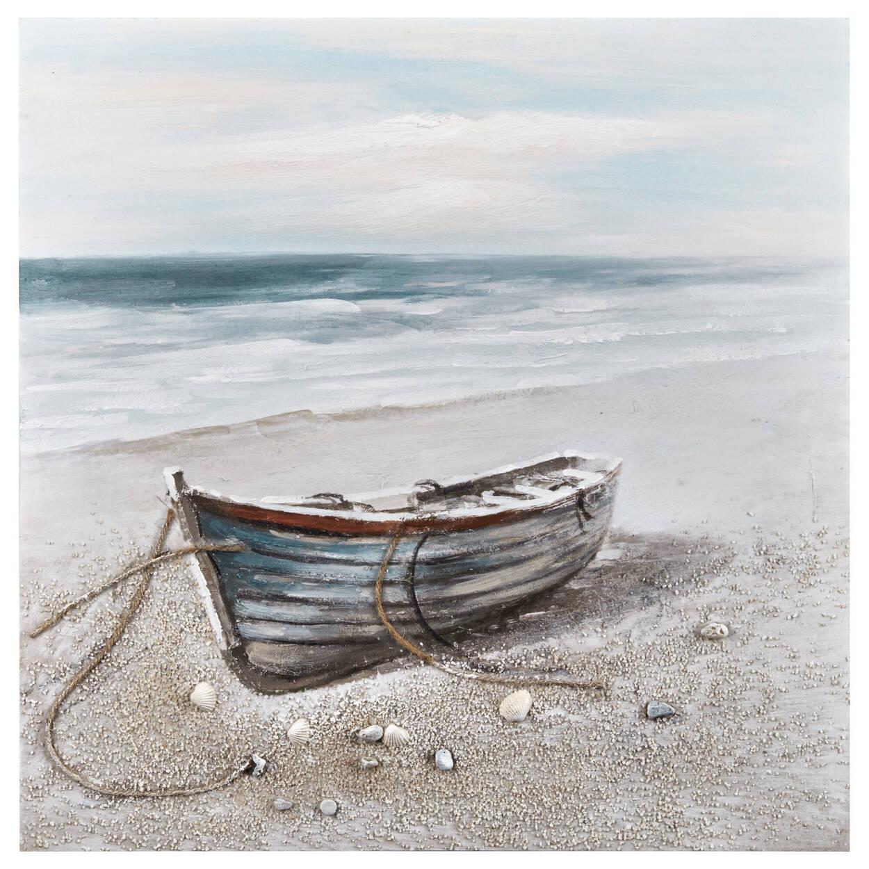 Bateau sur la plage peint à l'huile