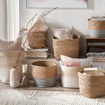 Natural Fibers and Cotton Rope Storage Basket