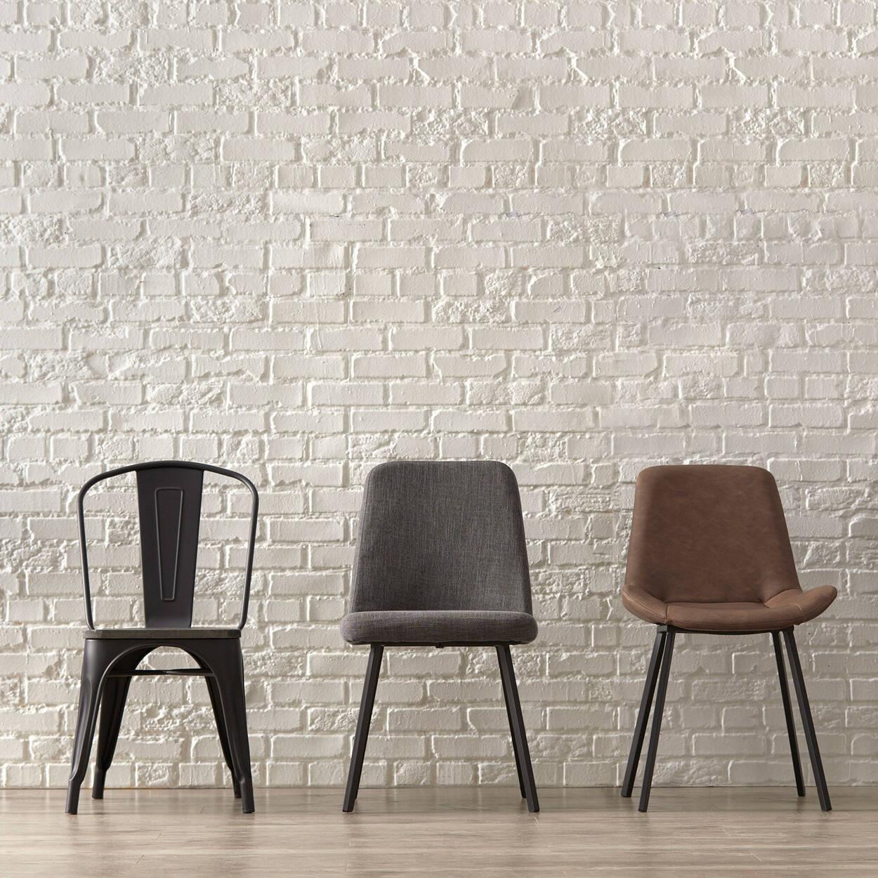 Chaise de salle à manger en bois d'orme et en métal