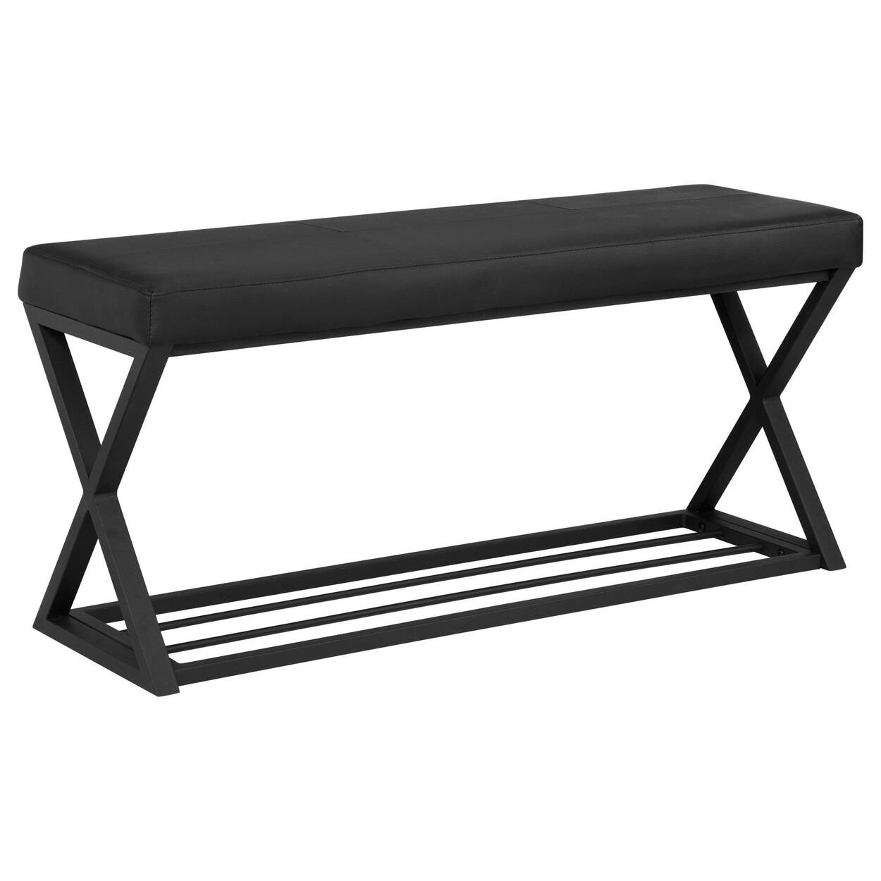Faux Leather Bench With Metal Base