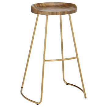Wood and Gold Metal Barstool