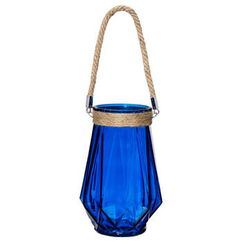 Glass Lantern Candle Holder with Rope Handle
