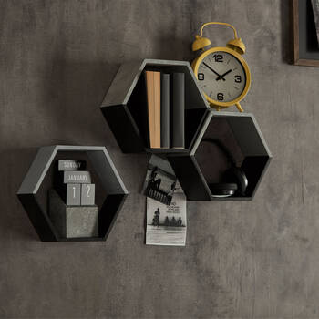 Set of 3 Hexagonal Wall Shelf