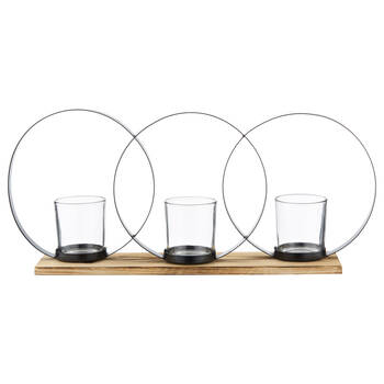 Geometric Metal and Wood Candle Holder