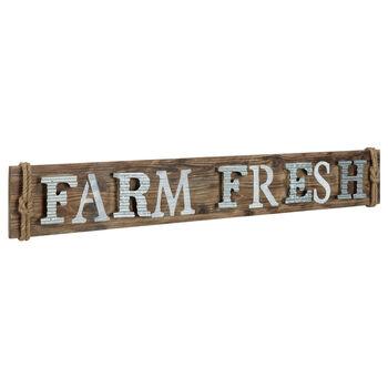 Farm Fresh Wood and Metal Wall Plaque