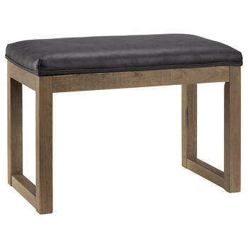 Faux Leather and Wood Bench