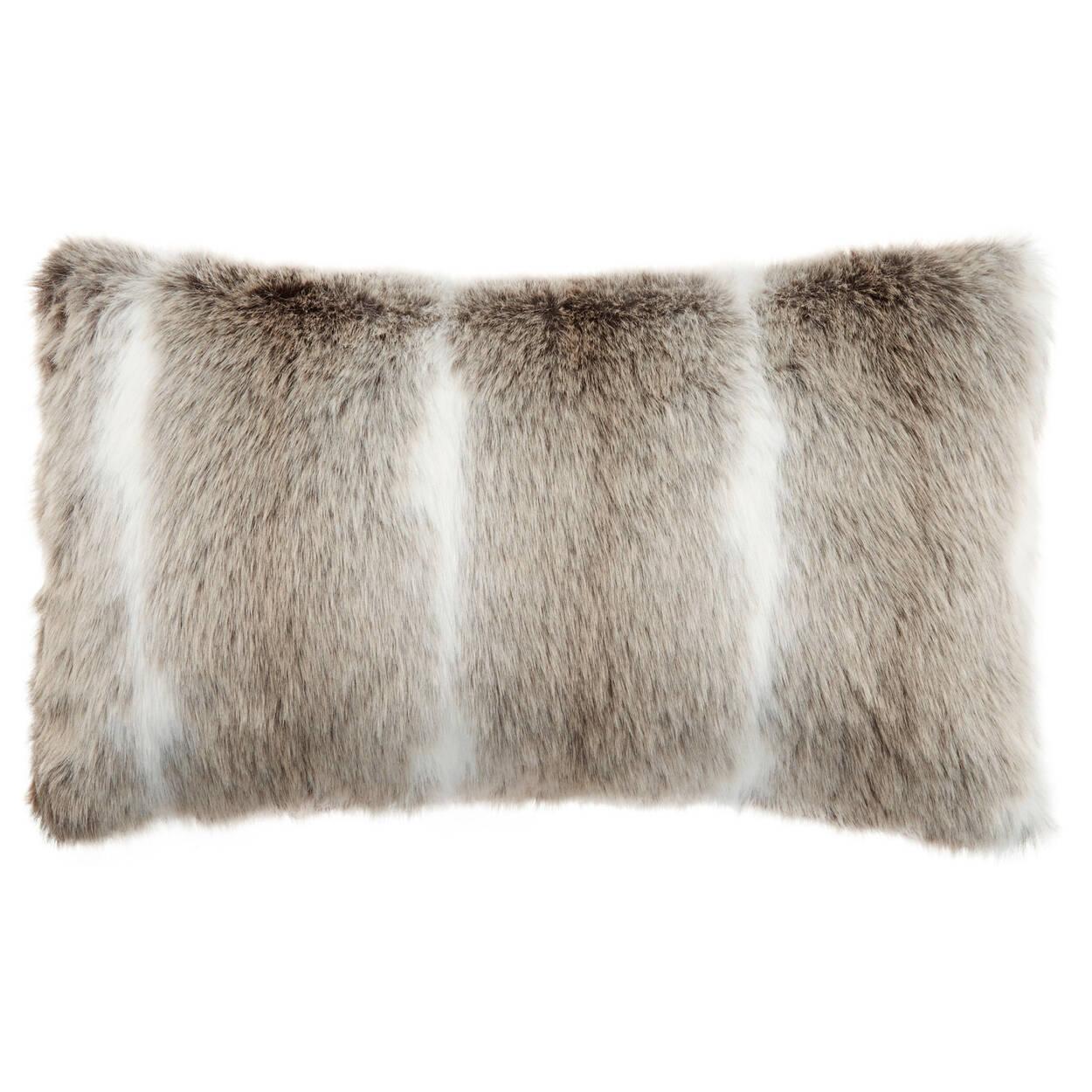 """Deer Faux Fur Decorative Lumbar Pillow 14"""" X 22"""