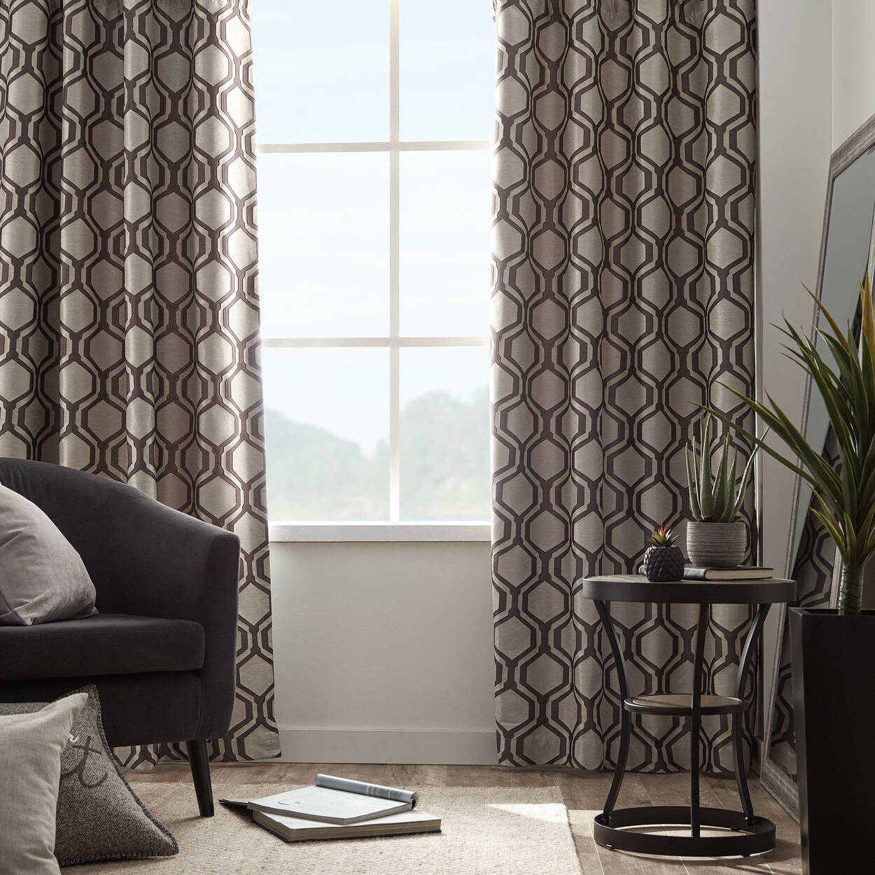 rideau en jacquard doubl coupe lumi re loft. Black Bedroom Furniture Sets. Home Design Ideas