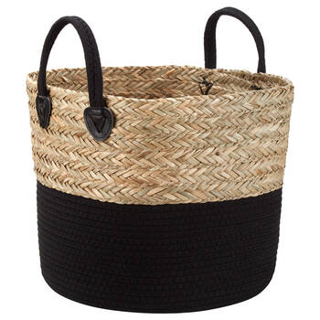 Woven Seagrass and Cotton Rope Basket