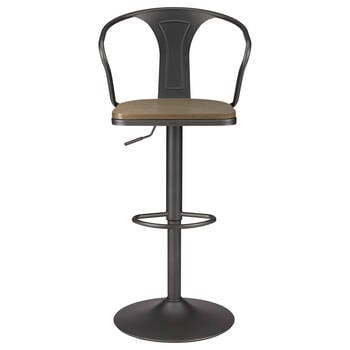 Solid Wood and Metal Bar Stool