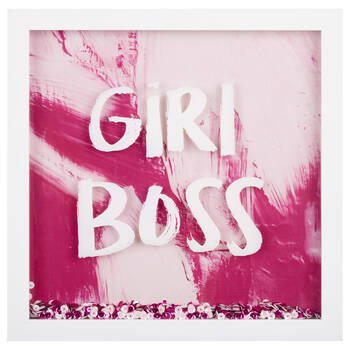 Girl Boss Sequin Wall Shadow Box