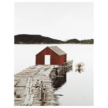 Red Boathouse Printed Canvas