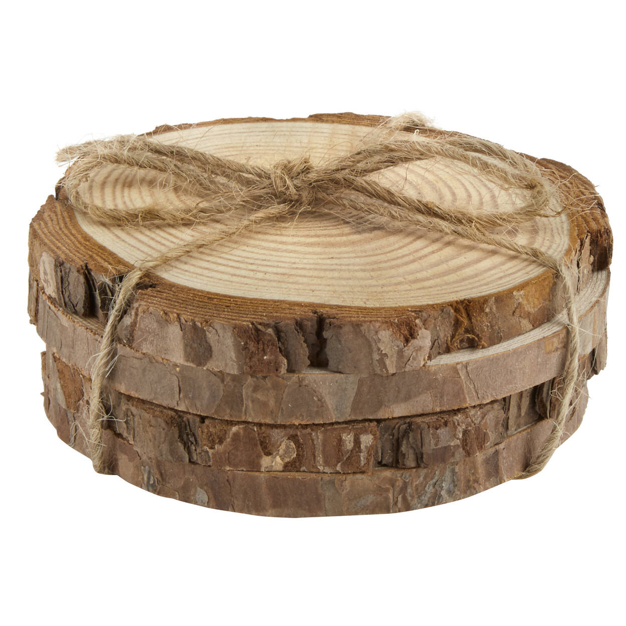 Set of 4 Wooden Disk Coasters