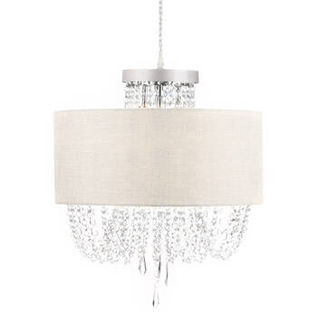 Chita Fabric and Crystal Droplets Ceiling Lamp