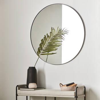 Round Mirror with Black Frame
