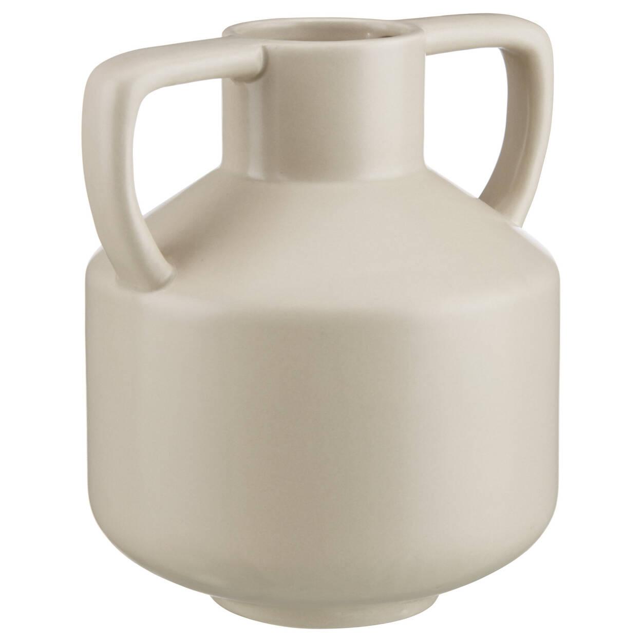 Beige Vase with Angular Handles