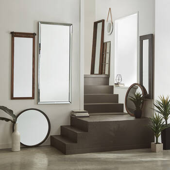 Full-Length Mirror with Wood-Like Frame