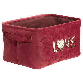 Sequined Velvet Love Storage Basket
