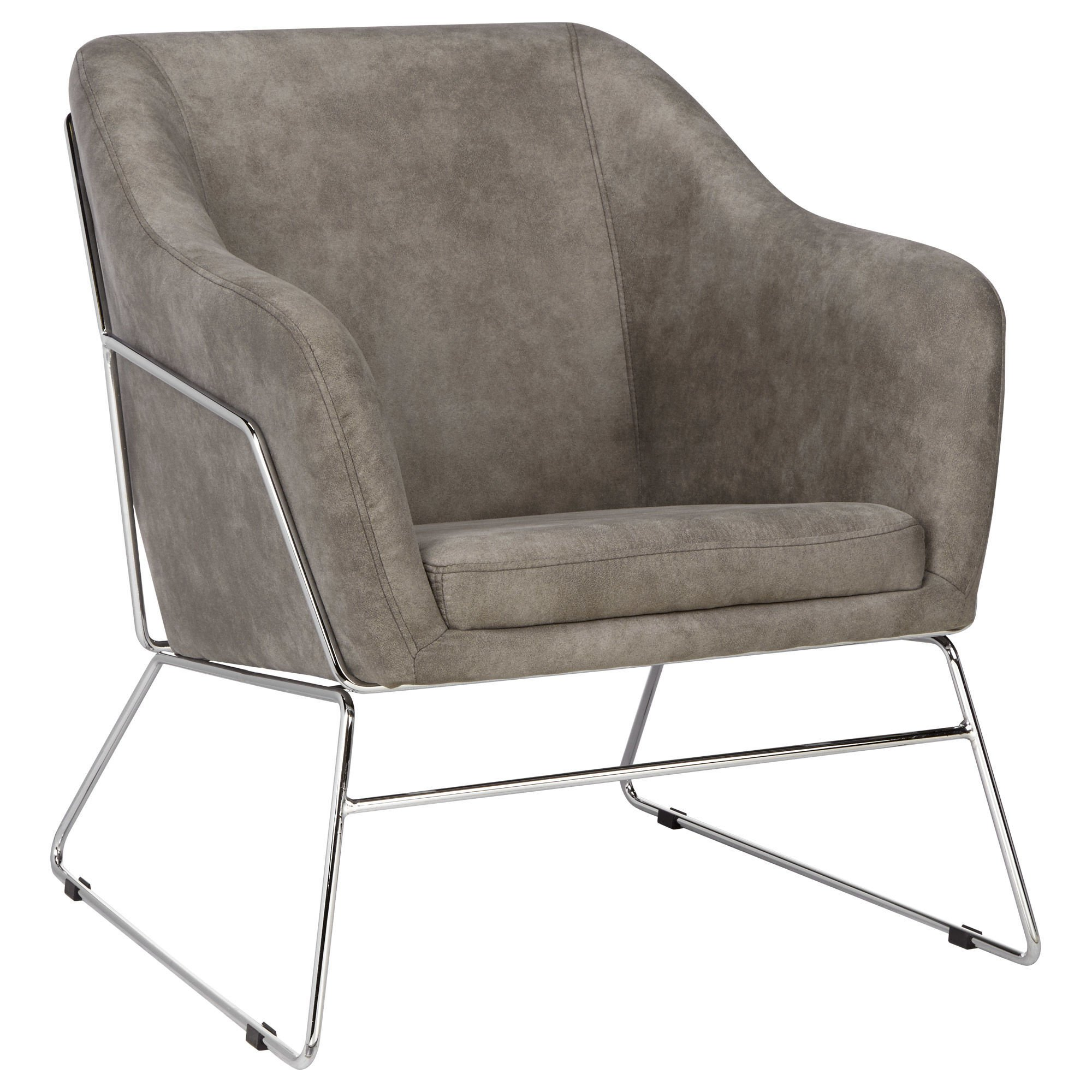 Textured Faux Leather And Metal Lounge Chair