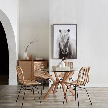 Table de salle à manger en pin et en verre trempé