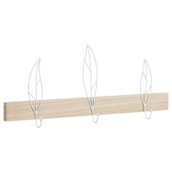 Set of 3 Leaf Hooks on Wall Plaque
