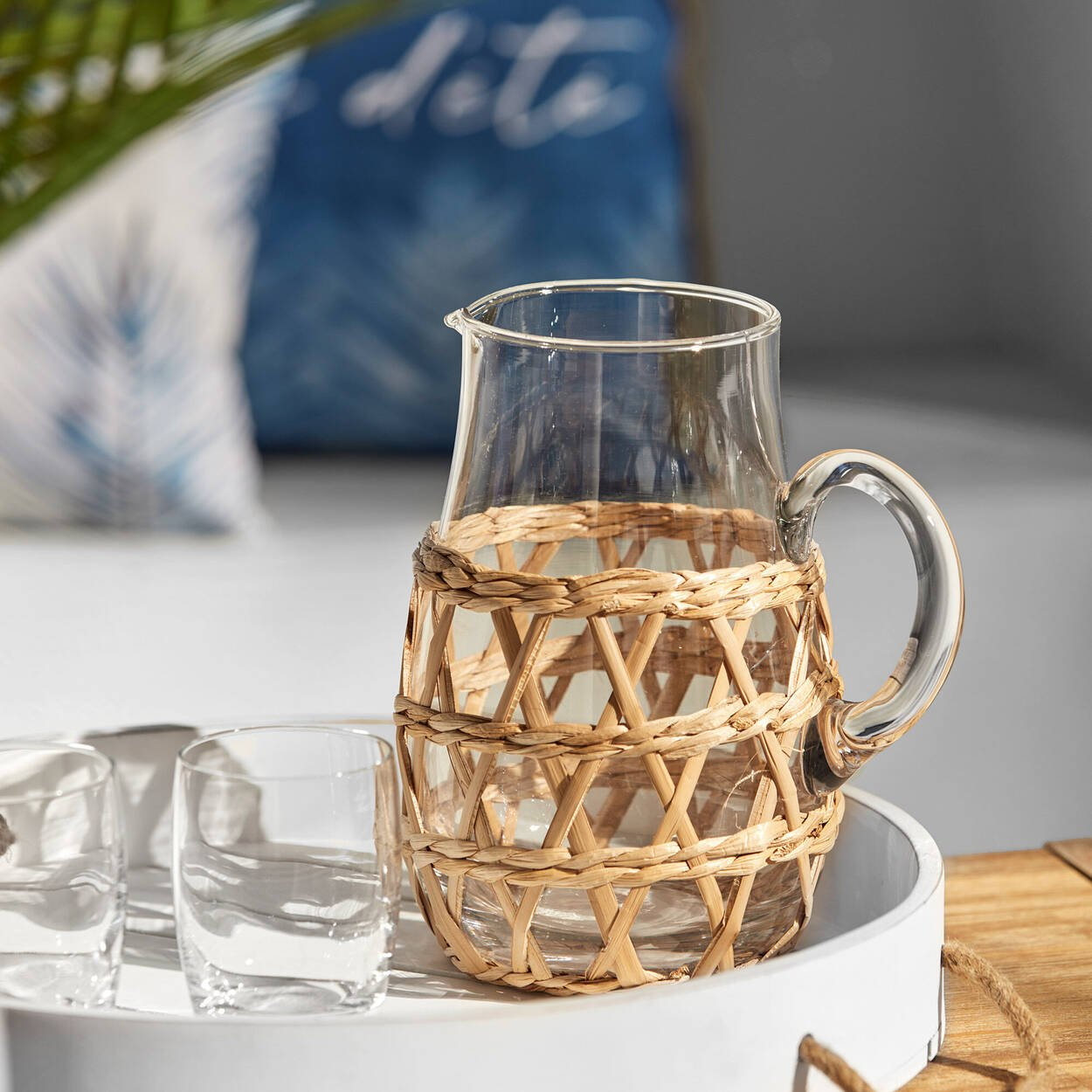 Seagrass Cage Glass Pitcher