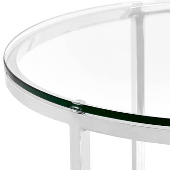 Set of 2 Tempered Glass Side Tables with Metal Legs