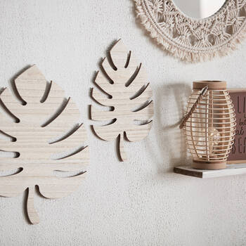 Set of 2 Wooden Mural Palm Leaves
