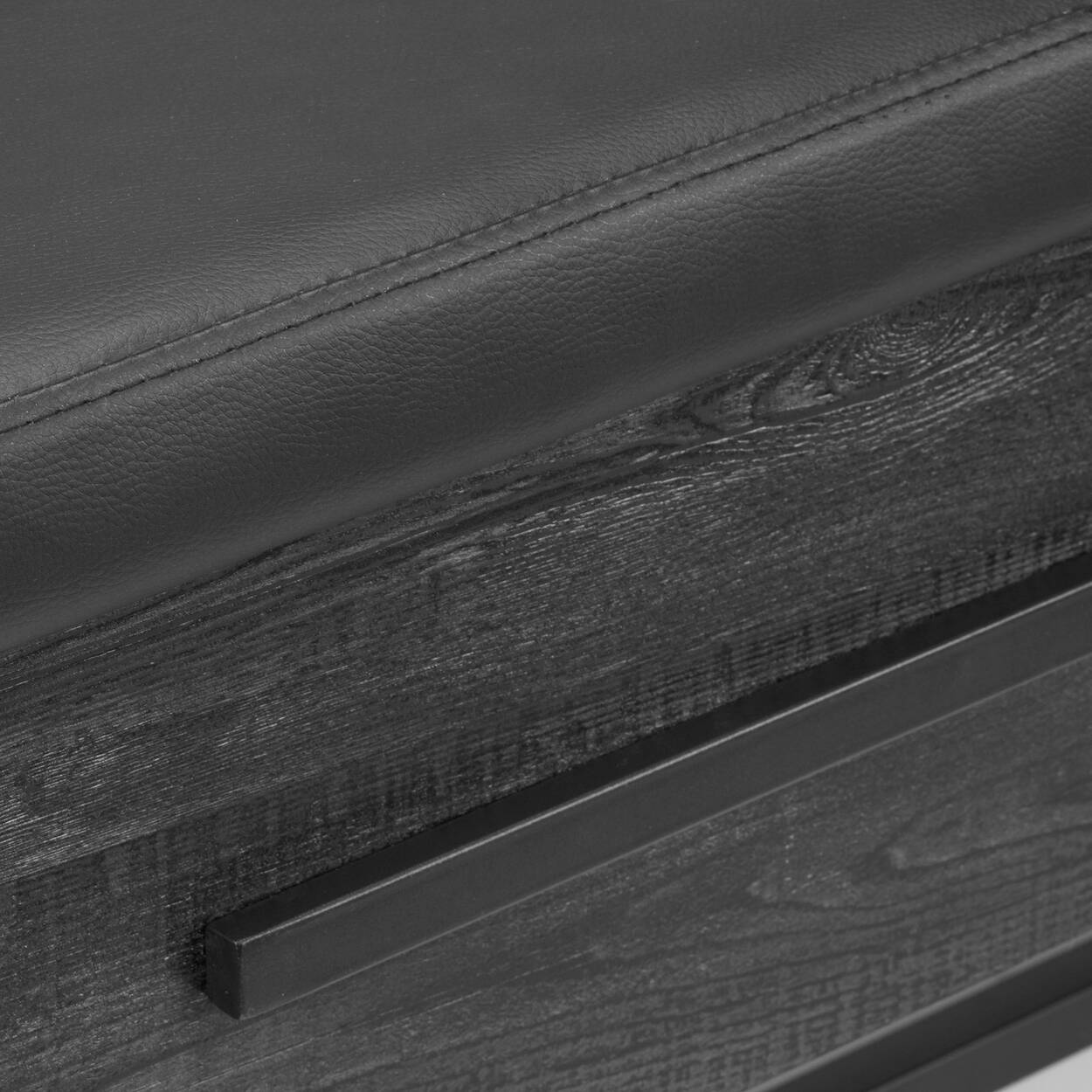 Banc de rangement en similicuir, en placage et en métal