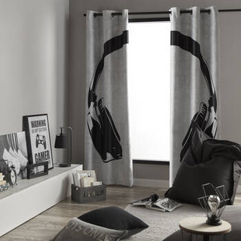 Headphone Set of 2 Panel Curtains