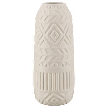 Vase de table en céramique blanche avec motif géométrique