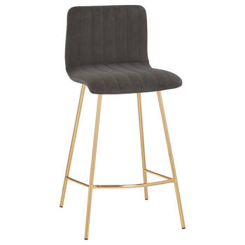 Velvet and Gold Metal Bar Stool