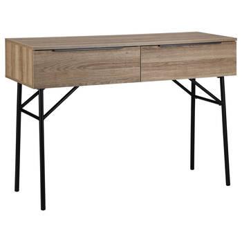 Veneer & Metal 2-Drawer Desk