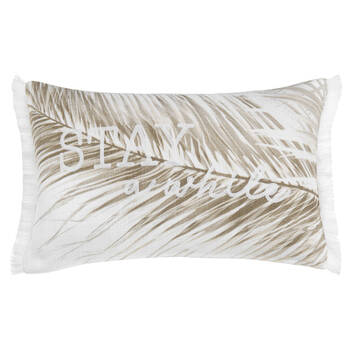 "Stay a While Palm Leaf Decorative Lumbar Pillow 13"" x 20"""