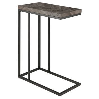 Chevron and Iron Side Table