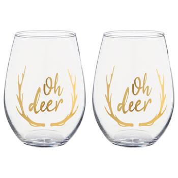 Set of 2 Oh Deer Wine Glasses