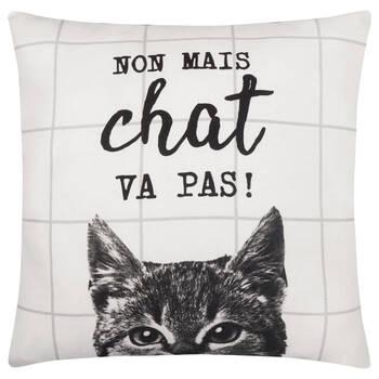 """Chat Va Pas Decorative Pillow Cover 18"""" X 18"""""""